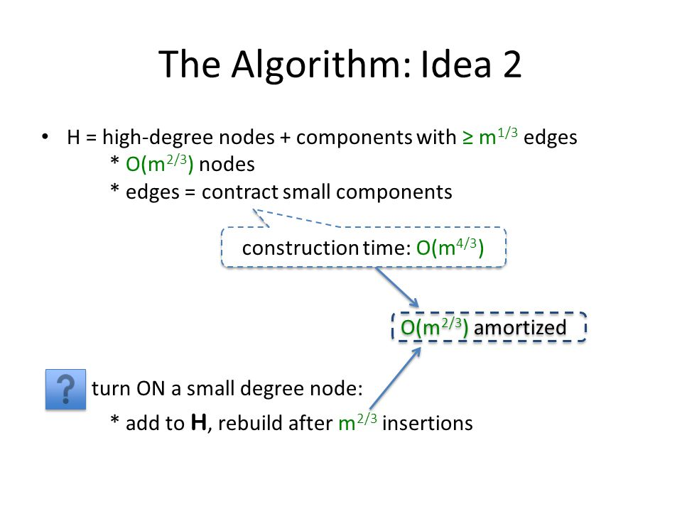 The Algorithm: Idea 2 H = high-degree nodes + components with m 1/3 edges * O(m 2/3 ) nodes * edges = contract small components turn ON a small degree node: * add to H, rebuild after m 2/3 insertions construction time: O(m 4/3 ) O(m 2/3 ) amortized