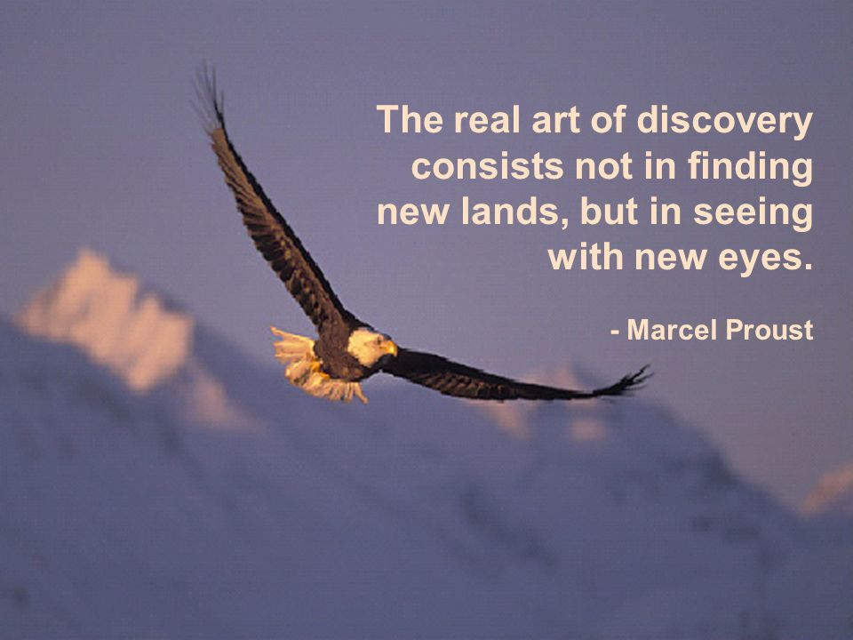 The real art of discovery consists not in finding new lands, but in seeing with new eyes. - Marcel Proust