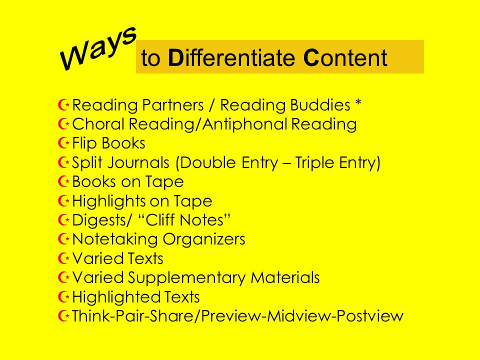 to Differentiate Content ZReading Partners / Reading Buddies * ZChoral Reading/Antiphonal Reading ZFlip Books ZSplit Journals (Double Entry – Triple E