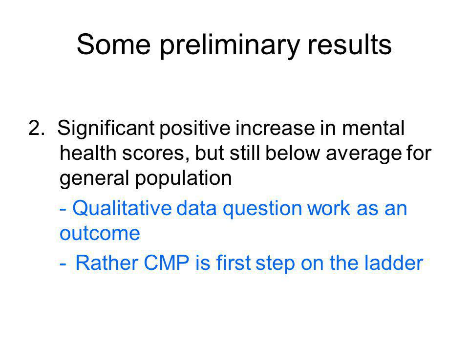 Some preliminary results 2. Significant positive increase in mental health scores, but still below average for general population - Qualitative data q