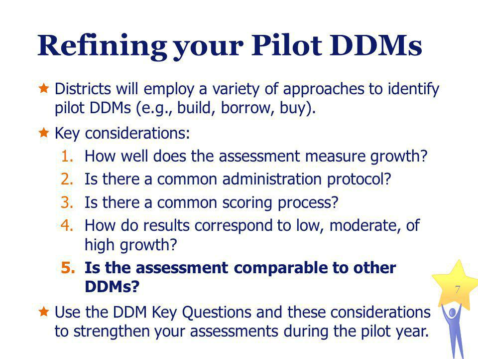 Refining your Pilot DDMs Districts will employ a variety of approaches to identify pilot DDMs (e.g., build, borrow, buy).