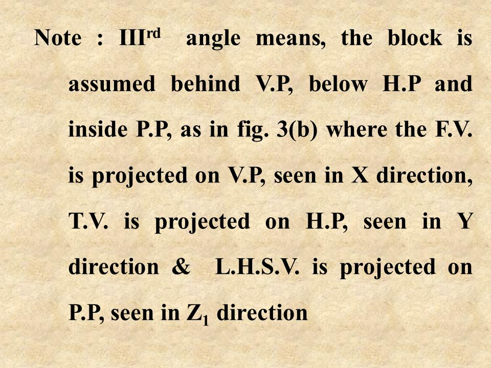 T.V. H.P H L.H.S.V. P.P D X Y Z1Z1 X Y V.P F.V. L Fig 3(b) Y Z1Z1 X D H L Fig 3(a) Plane H.P turned up(above V.P) Plane P.P turned side way(towards le