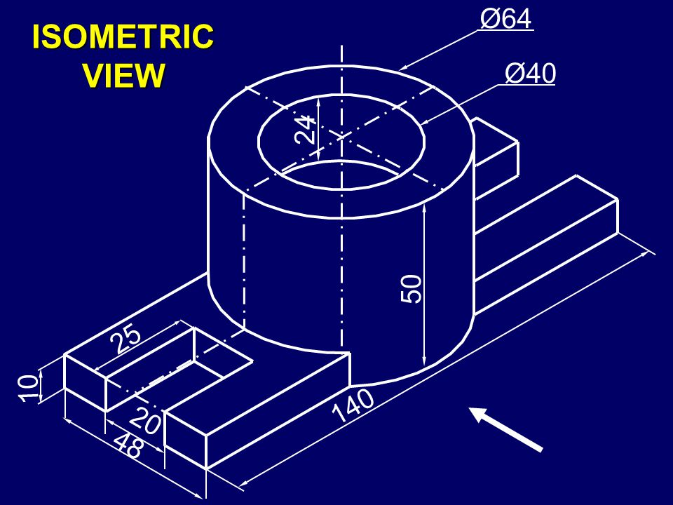 F igure shows the isometric view of a vertical shaft support. D raw its all the three views, using first angle method of projections. G ive the necess