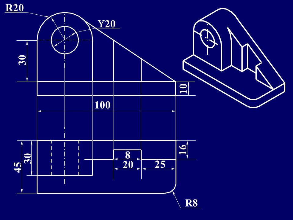 10 8 20 R20 100 45 16 20 25 R8 10 30 ISOMETRIC ORTHO. VIEWS