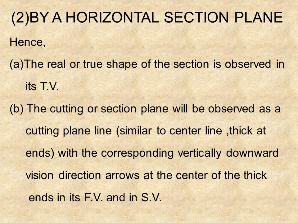 (1)BY A VERTICAL SECTION PLANE (PARALLEL TO PRINCIPLE V.P.) Hence, (a)The real or true shape of the section is observed in its F.V. (b)Section plane w