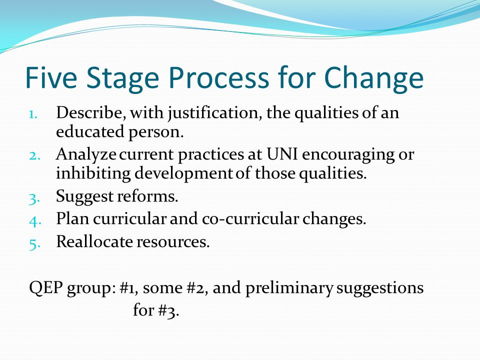 Five Stage Process for Change 1. Describe, with justification, the qualities of an educated person. 2. Analyze current practices at UNI encouraging or