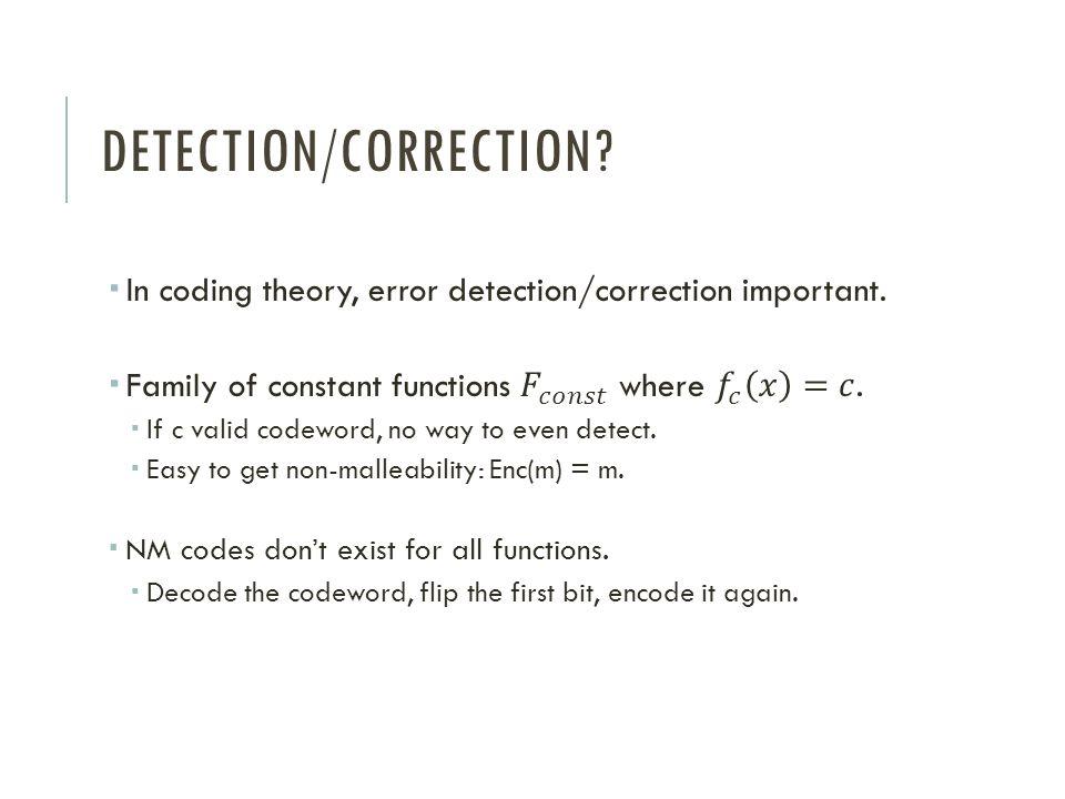 DETECTION/CORRECTION?