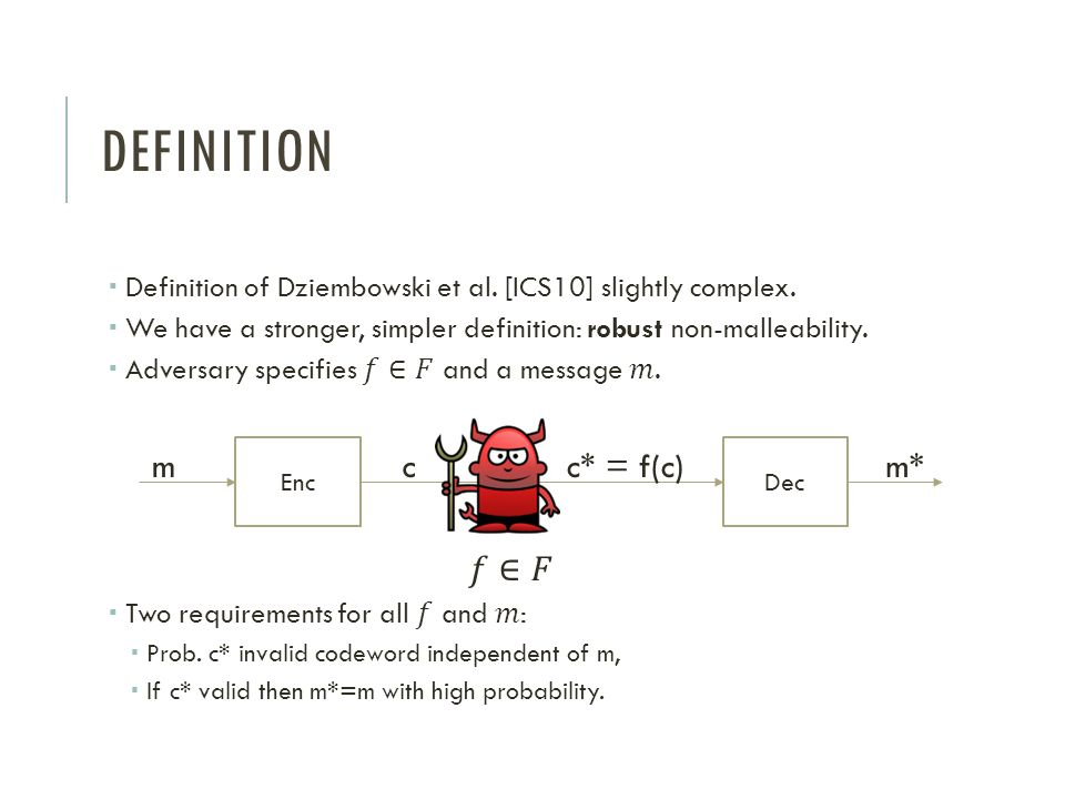 DEFINITION EncDec mcc* = f(c)m*