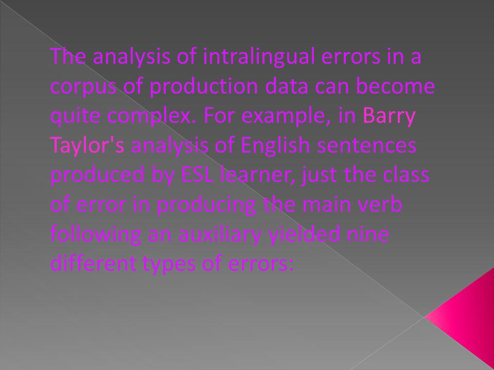 The analysis of intralingual errors in a corpus of production data can become quite complex.