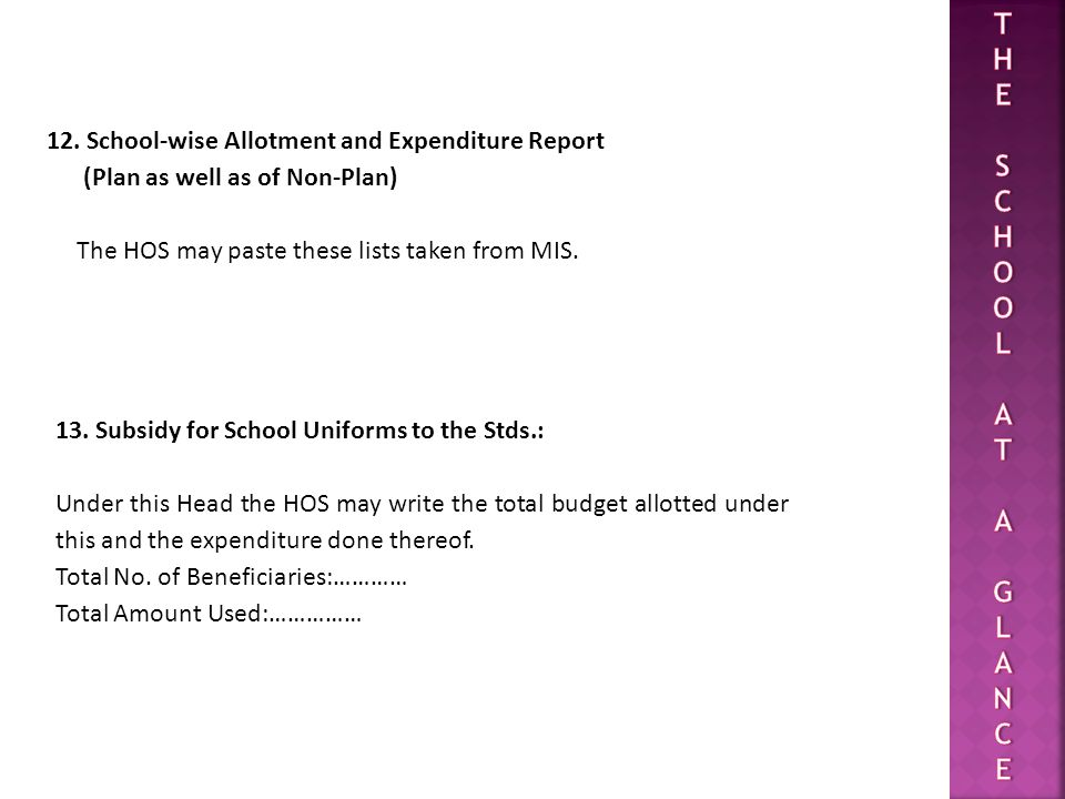 12. School-wise Allotment and Expenditure Report (Plan as well as of Non-Plan) The HOS may paste these lists taken from MIS. 13. Subsidy for School Un