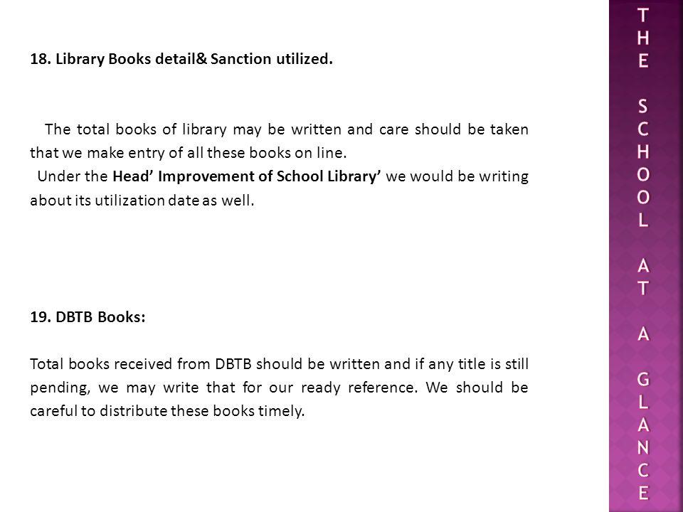 18.Library Books detail& Sanction utilized.