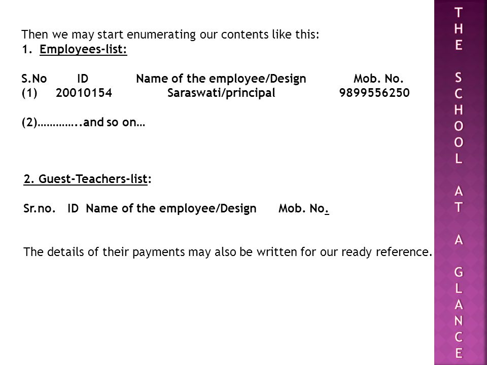 Then we may start enumerating our contents like this: 1.Employees-list: S.No ID Name of the employee/Design Mob.