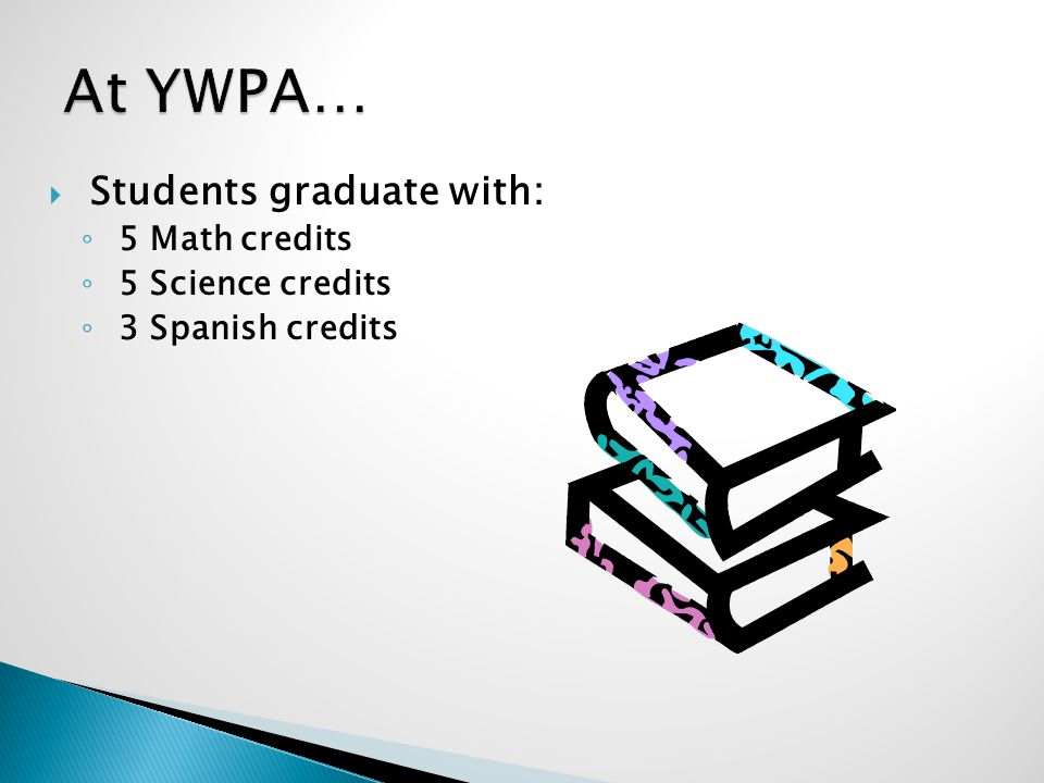 Students graduate with: 5 Math credits 5 Science credits 3 Spanish credits