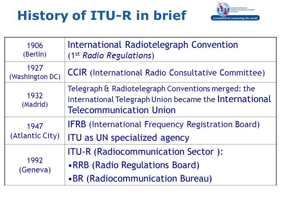 History of ITU-R in brief 1906 (Berlin) International Radiotelegraph Convention (1 st Radio Regulations) 1927 (Washington DC) CCIR (International Radi
