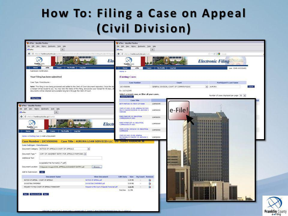 How To: Filing a Case on Appeal (Civil Division)