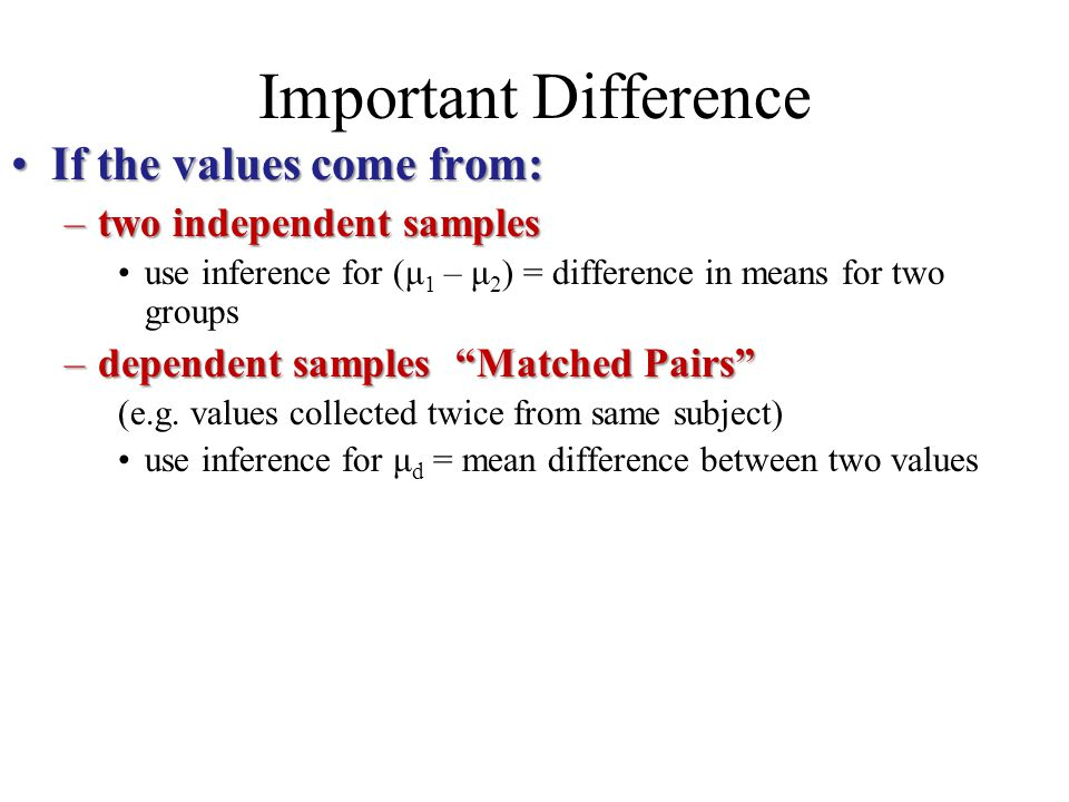 Important Difference If the values come from:If the values come from: –two independent samples use inference for (μ 1 – μ 2 ) = difference in means fo