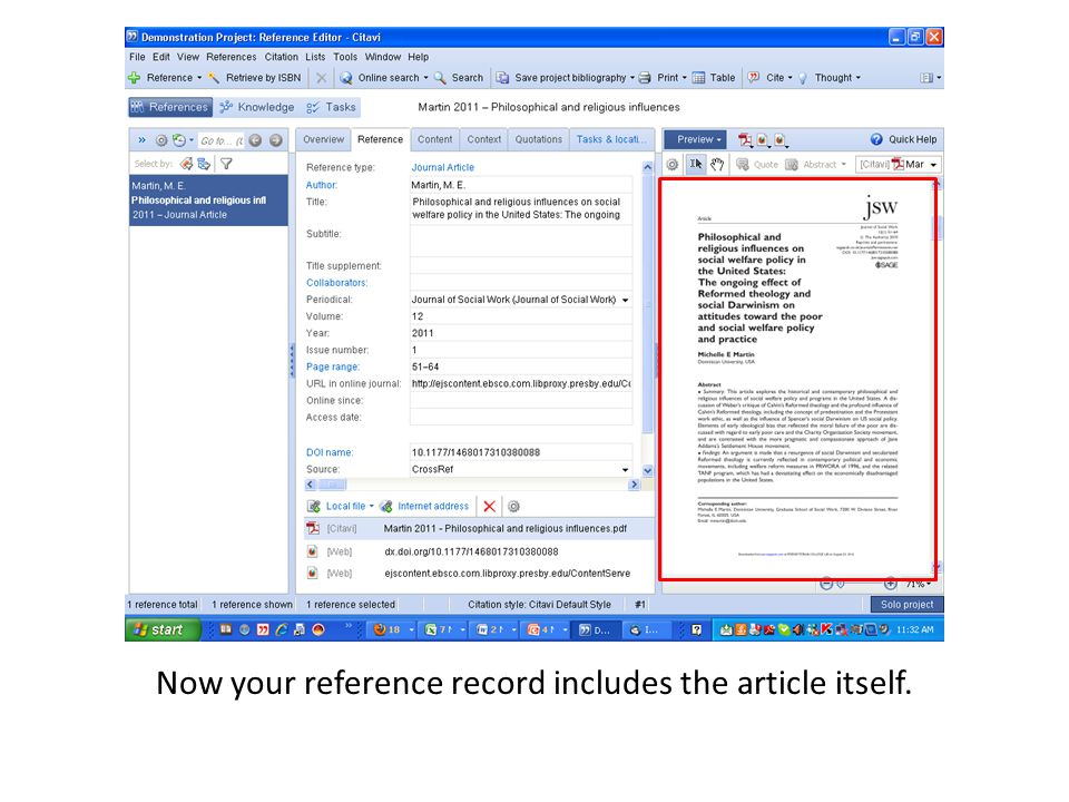 Now your reference record includes the article itself.