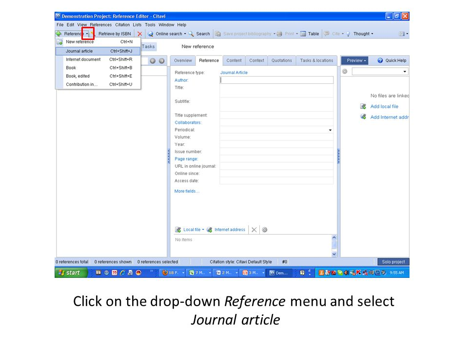 Click on the drop-down Reference menu and select Journal article