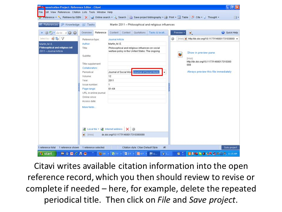 Citavi writes available citation information into the open reference record, which you then should review to revise or complete if needed – here, for