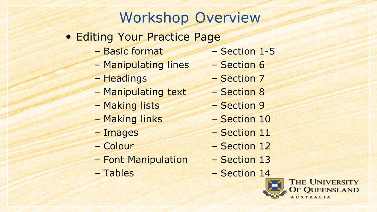 Using HTML –Basic format –Manipulating lines and spaces –Headings –Manipulating text –Making lists –Making links –Colours and images –Tables –Section 1-5 –Section 6 –Section 7 –Section 8 –Section 9 –Section 10 –Section 11 –Section 12 Editing Your Practice Page