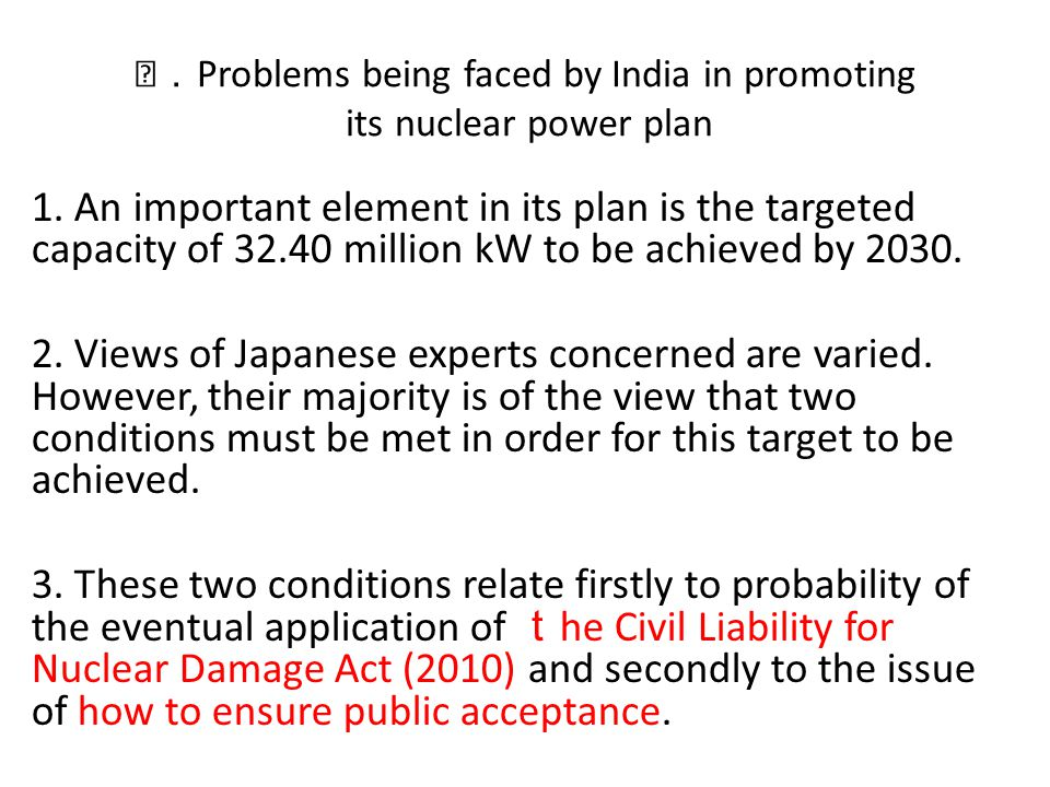 Problems being faced by India in promoting its nuclear power plan 1.