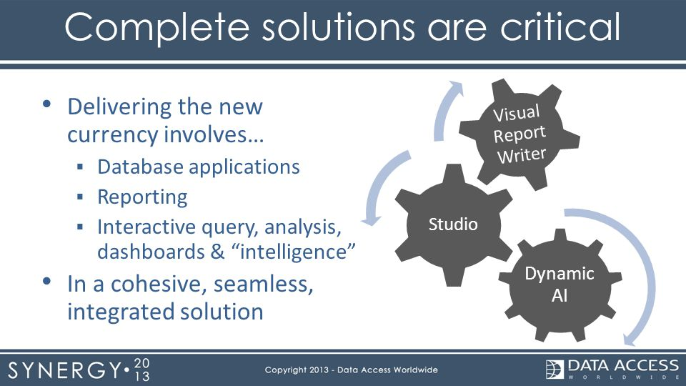 Complete solutions are critical Dynamic AI Studio Visual Report Writer Delivering the new currency involves… Database applications Reporting Interacti