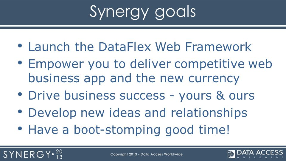 Synergy goals Launch the DataFlex Web Framework Empower you to deliver competitive web business app and the new currency Drive business success - your