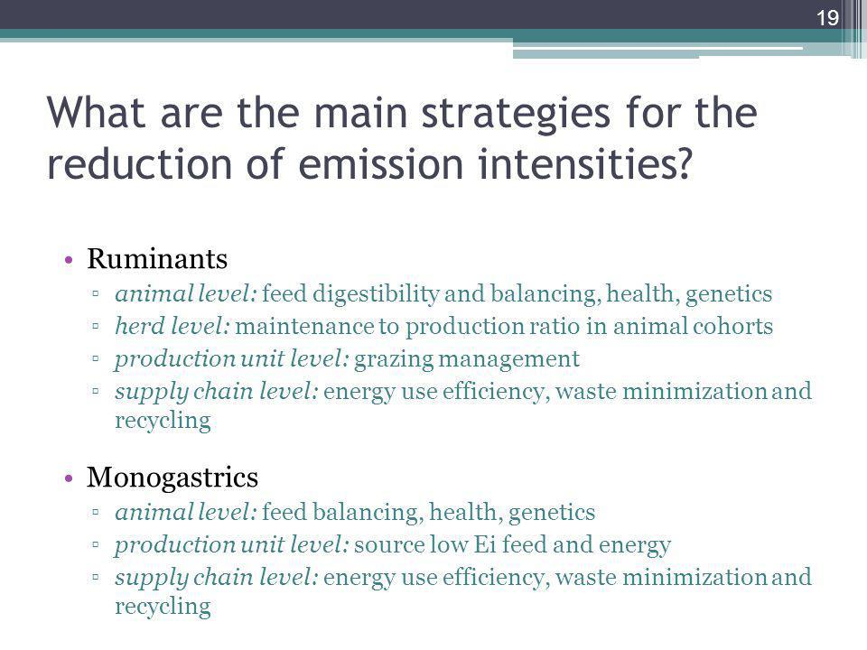 What are the main strategies for the reduction of emission intensities.