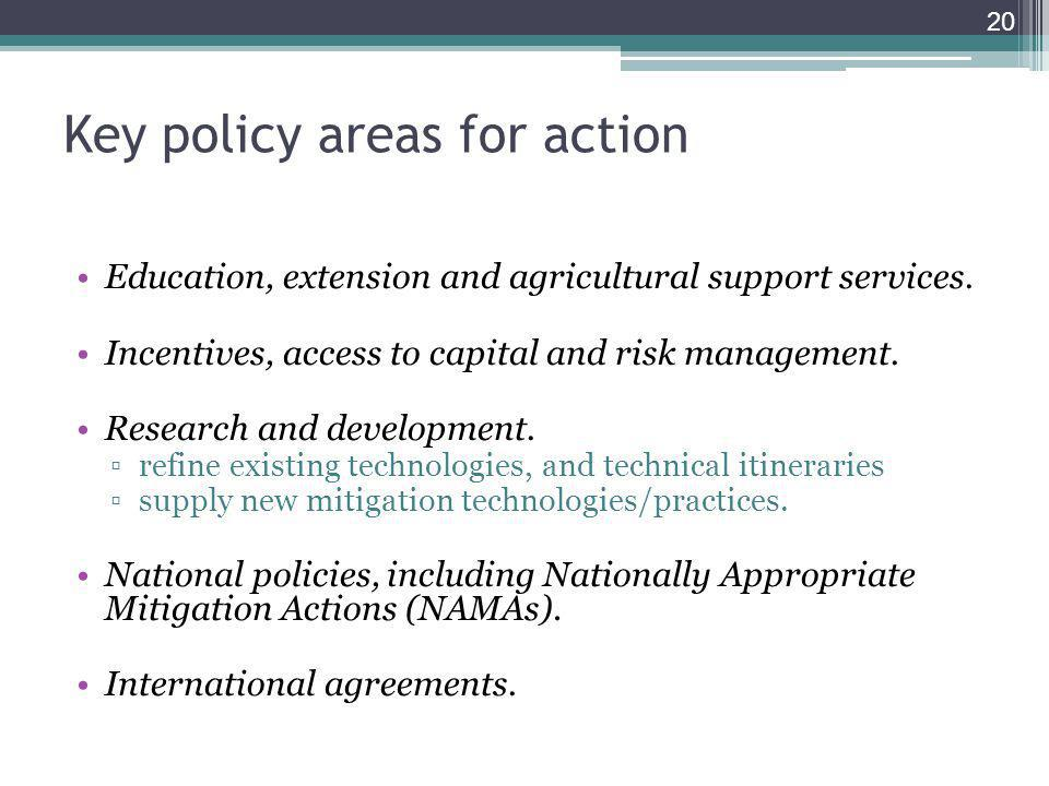 Key policy areas for action Education, extension and agricultural support services.