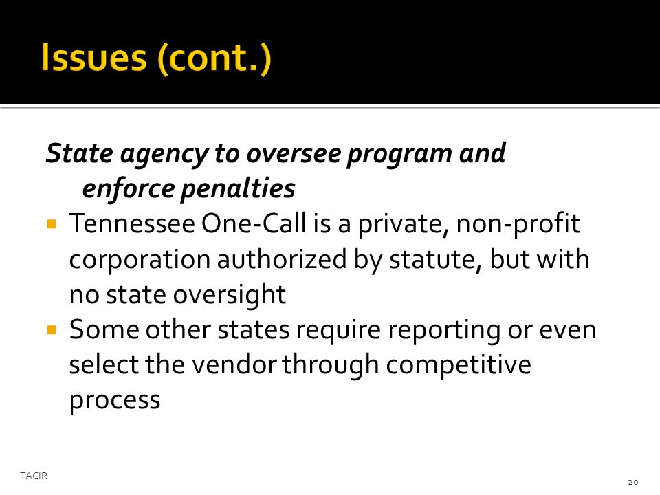 State agency to oversee program and enforce penalties Tennessee One-Call is a private, non-profit corporation authorized by statute, but with no state oversight Some other states require reporting or even select the vendor through competitive process TACIR 20