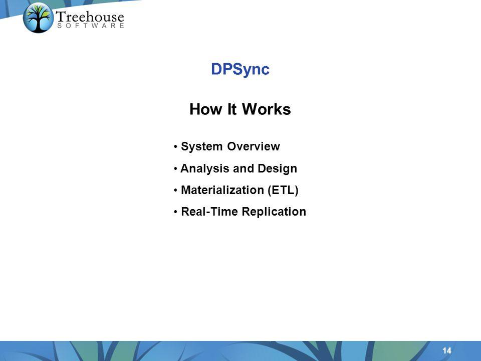 14 DPSync How It Works System Overview Analysis and Design Materialization (ETL) Real-Time Replication