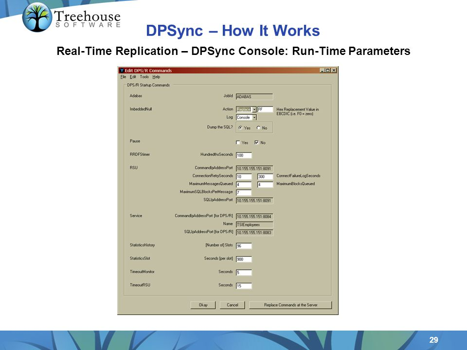 29 Real-Time Replication – DPSync Console: Run-Time Parameters DPSync – How It Works