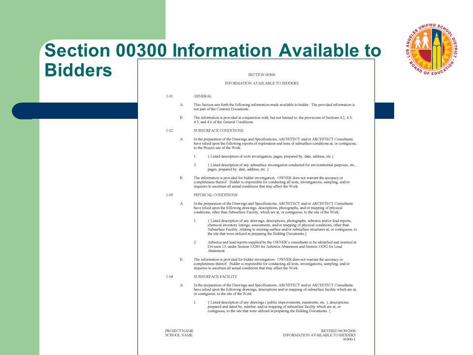 Section 00300 Information Available to Bidders