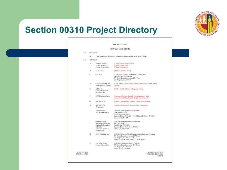 Section 00310 Project Directory