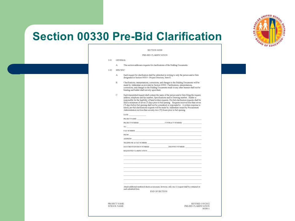 Section 00330 Pre-Bid Clarification