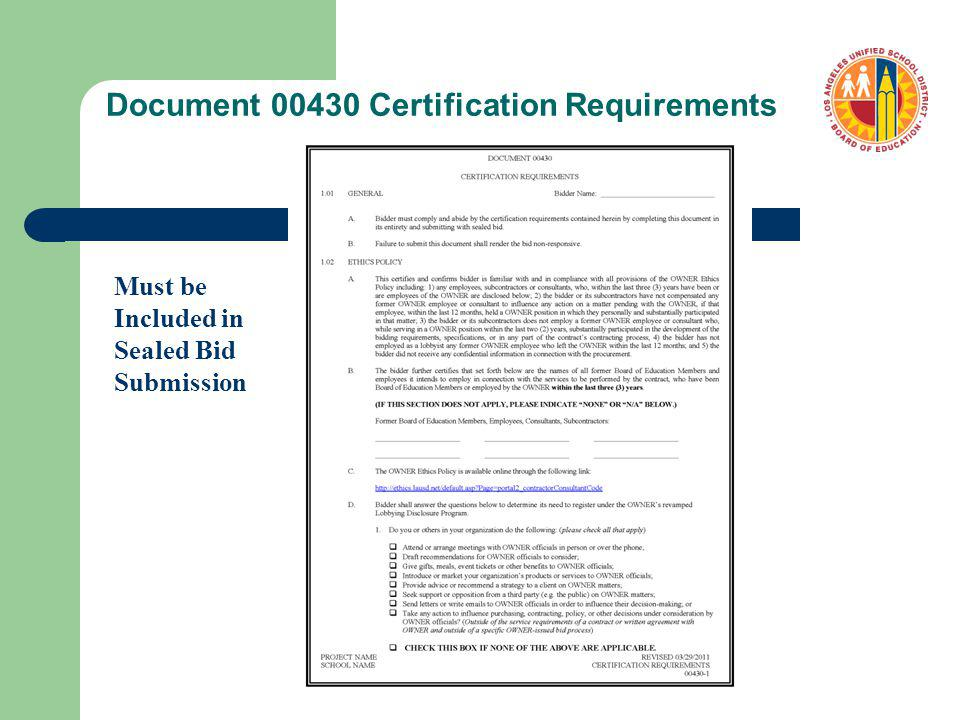 Document 00430 Certification Requirements Must be Included in Sealed Bid Submission