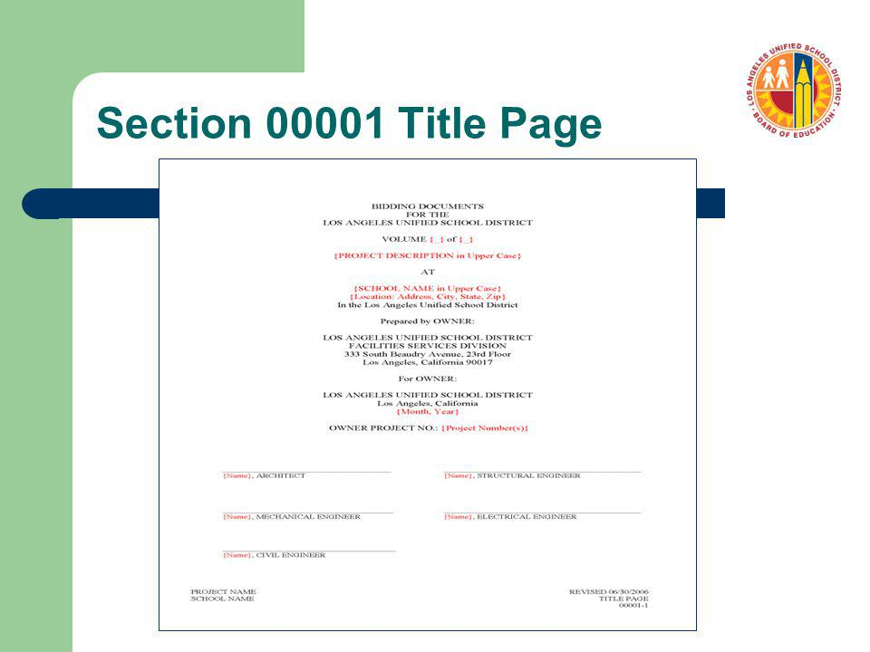 Section 00001 Title Page