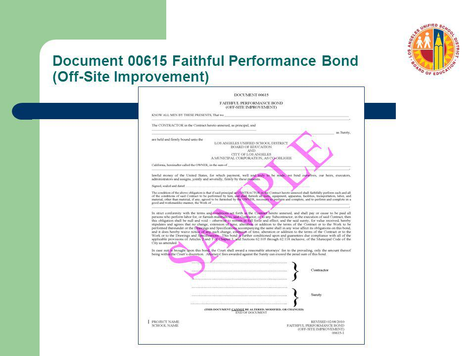 Document 00615 Faithful Performance Bond (Off-Site Improvement)