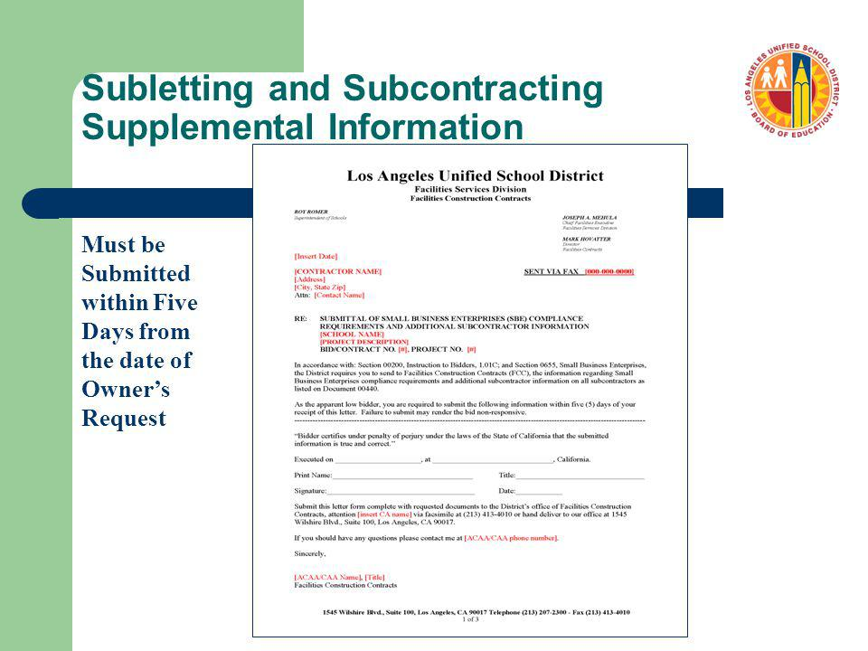 Subletting and Subcontracting Supplemental Information Must be Submitted within Five Days from the date of Owners Request