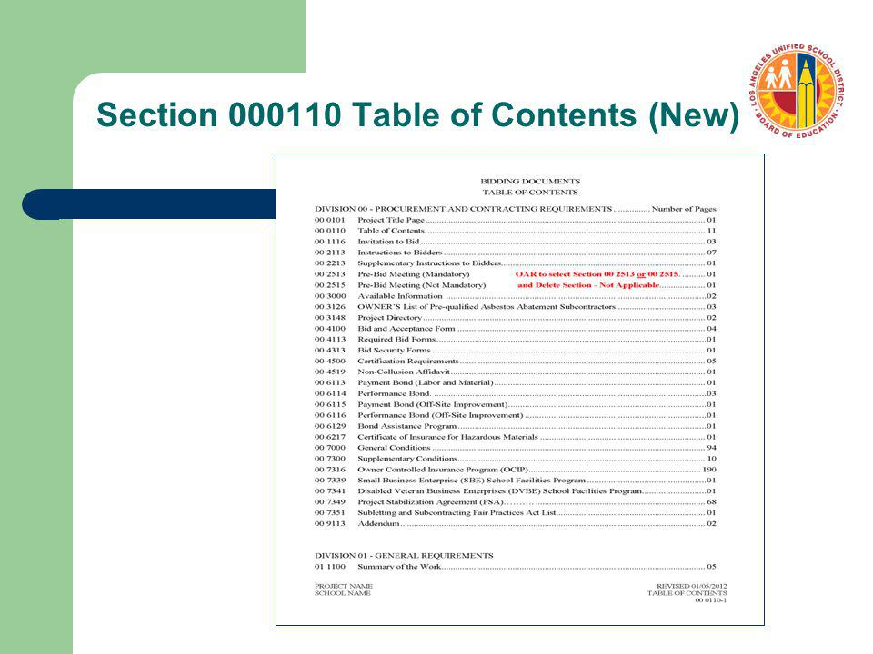 Section 000110 Table of Contents (New)