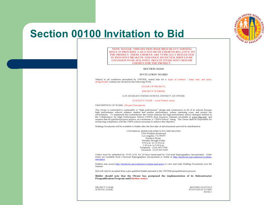 Section 00100 Invitation to Bid