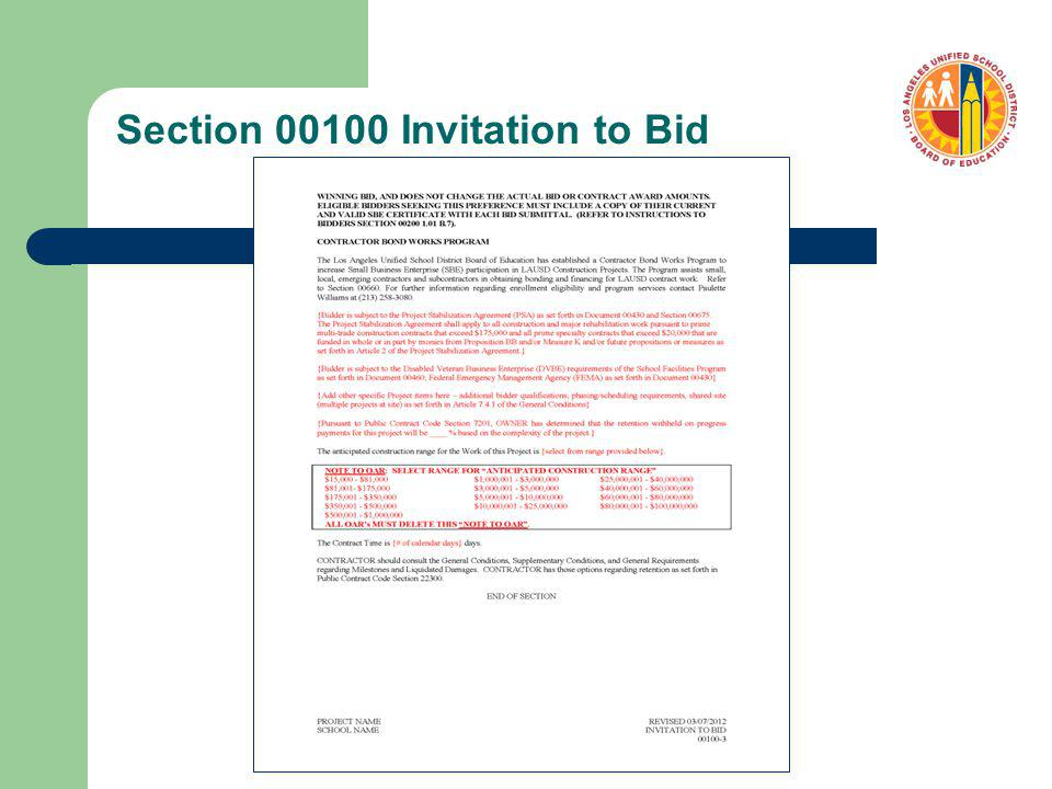 Related Documents for Adv/Bid/Award – Notice to Proceed (Sample)