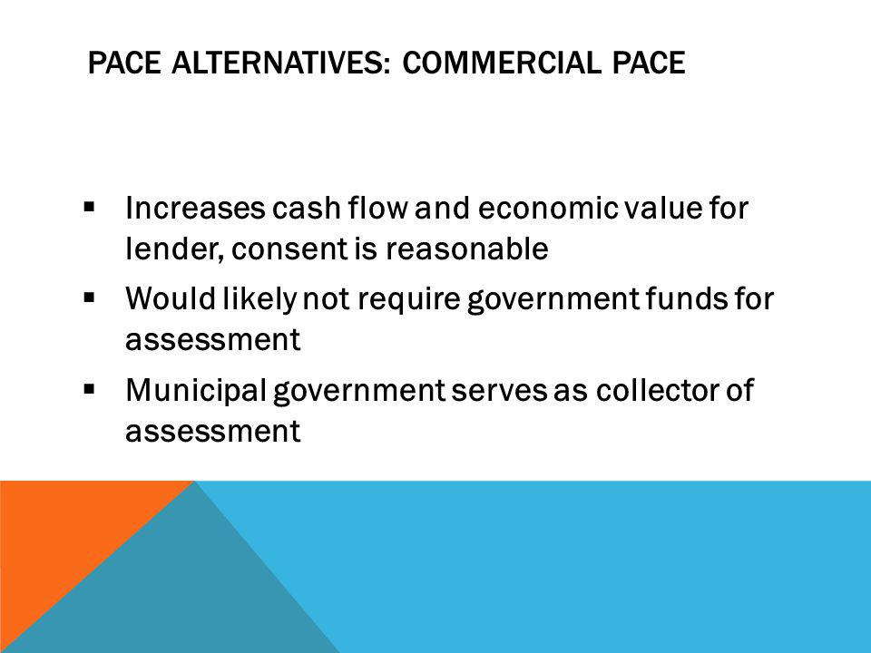 PACE ALTERNATIVES: COMMERCIAL PACE Increases cash flow and economic value for lender, consent is reasonable Would likely not require government funds for assessment Municipal government serves as collector of assessment
