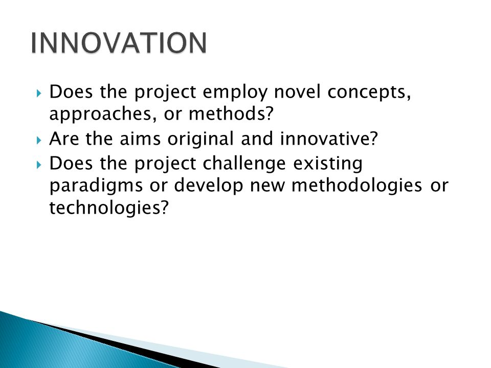 Does the project employ novel concepts, approaches, or methods.