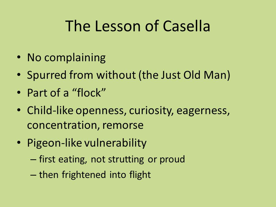 The Lesson of Casella No complaining Spurred from without (the Just Old Man) Part of a flock Child-like openness, curiosity, eagerness, concentration, remorse Pigeon-like vulnerability – first eating, not strutting or proud – then frightened into flight