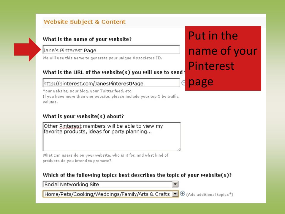 Put in the name of your Pinterest page