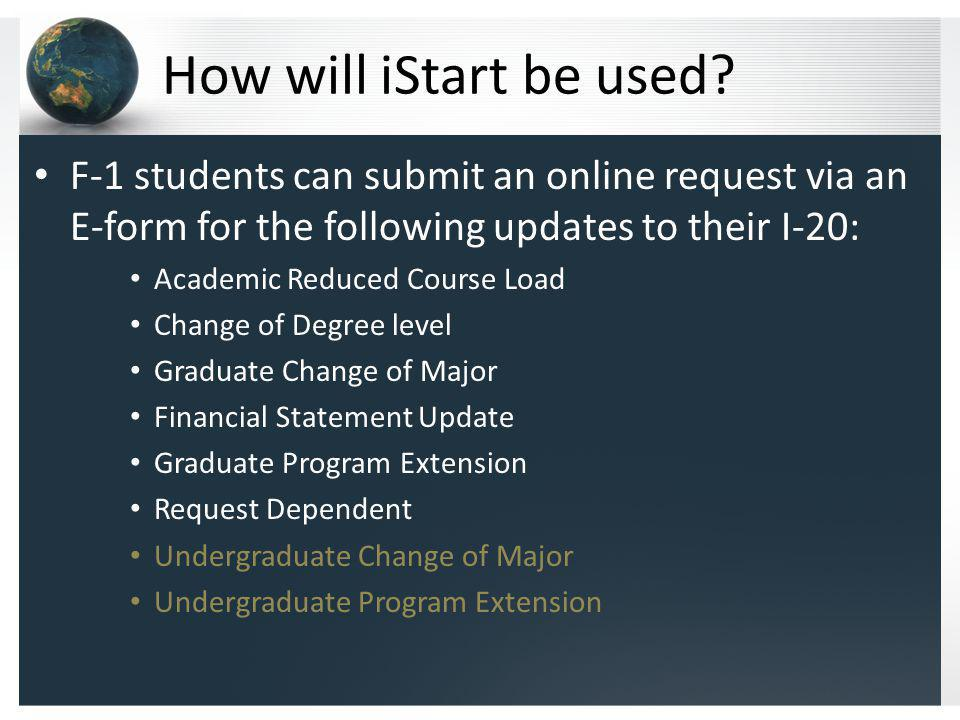 How will iStart be used.