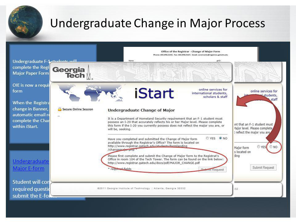 Undergraduate Change in Major Process Undergraduate F-1 students will complete the Registrars Change of Major Paper Form and bring it to OIE.