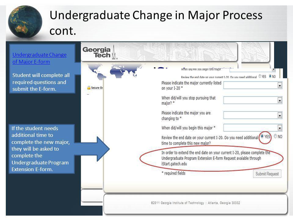 Undergraduate Change in Major Process cont.