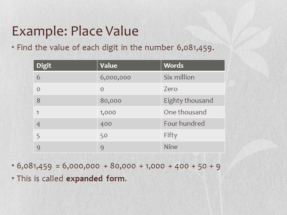 Example: Place Value Find the value of each digit in the number 6,081,459.